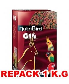 NutriBird G14 อาหารนกสูตรเม็ดสี กลิ่นหอม สำหรับ ค็อกคาเท็ล เลิฟเบิร์ด ริงเน็ค โลลี แบ่งจำหน่าย 1 K.G