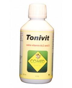 COMED TONIVIT บำรุงนกที่เลี้ยงในบ้าน สำหรับนกที่ไม่ได้รับแสงแดด หรือได้รับแสงแดดน้อย บรรจุ 250 ml.