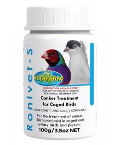 Vetafarm Ronivet-S ยารักษาโรคแคงเกอร์ ปลอดภัยกับนก และไม่ส่งผลต่อระบบประสาท บรรจุ 500 กรัม