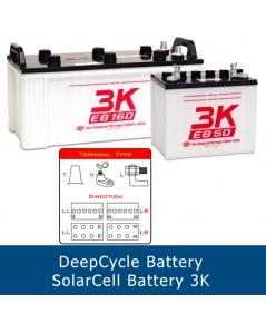 แบตเตอรี่ deep cycle โซล่าเซลส์ solar cell 3K EB65 T 12V 80Ah ขั้ว T