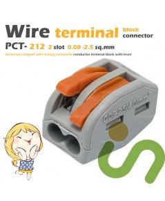 ขั้วต่อสายไฟ ขั้วต่อสายคอนโทรล ลูกเต๋าเชื่อมต่อสายไฟ 2 ช่อง OOP 0.08 -2.5 sq.mm PCT-212 20 ชิ้น