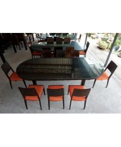 ชุดโต๊ะทานอาหารไม้สัก 8 ที่นั่งมือสอง