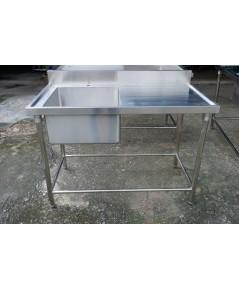 ซิงค์ล้างจาน 1 หลุมลึกมีที่วาง(304) 1.0 มม.