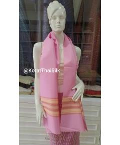 ผ้าพันคอไหมแท้ สีชมพู