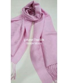ผ้าพันคอไหมแท้ ยกดอก สีชมพูพาสเทล