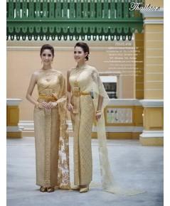 ชุดไทยจักรพรรดิ สีน้ำตาลทอง TEM 000860