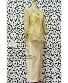 ชุดไทยประยุกต์ สีทอง-ครีม TP 000895