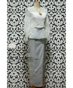 ชุดไทยประยุกต์ สีงาช้าง-เทาเงิน TP 000896