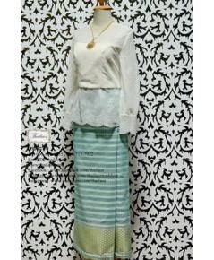 ชุดไทยประยุกต์ สีงาช้าง-เขียว TP 000898