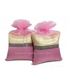 ถุงผ้าไหมแก้ว สีชมพู