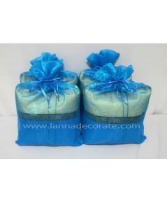 ถุงผ้าไหมแก้ว สีฟ้า