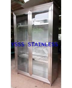 ตู้เก็บจานสเตนเลส 3 ชั้นประตูกระจก No.CB30