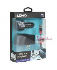 Ldnio 10.5W 2.1A 3-in-1 Car / AC Charger with USB Cable for iPhone