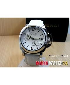M0163 นาฬิกา Panerai Luminor Power Reserve Lady Boy Size 40 mm. Pam 90  สายขาว Mirror Case Swiss