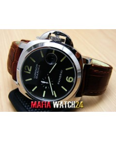M0203 นาฬิกา Panerai Luminor Marina Lady Boy Size 40 mm. Automatic สายน้ำตาลหน้าดำ PAM 048 Mirror