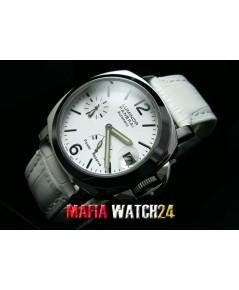 M0339 นาฬิกา Panerai Luminor Power Reserve Lady Boy Size 40 mm. Pam 90 สายขาว Mirror Case Swiss