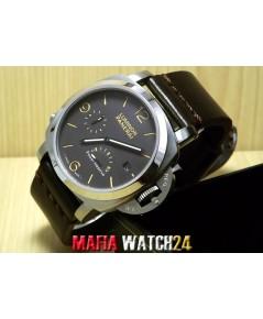 M0418 นาฬิกา Panerai Luminor 1950 Power Reserve 44mm Vintage Dial Brown Body Swiss สายหนังวัวแท้ๆ