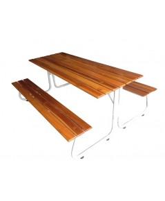 MD3-001 โต๊ะโรงอาหารขารูปตัว J หน้าไม้สักไม้จริงตีระแนง ยาว180ซ.ม (ไม้หน้า 4)