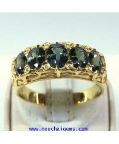 แหวนพลอยเขียวส่องจันท์แท้ฉลุลายไทย