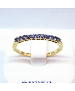 แหวนพลอยไพลินจันท์แท้(เหลี่ยมก้นเพชร)