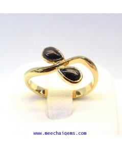 แหวนพลอยสตาร์ดำแท้รูปทรงหยดน้ำ