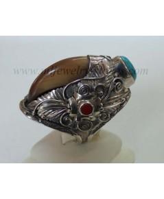 แหวนเล็บหมีตัวเรือนเงินแท้(handmade)