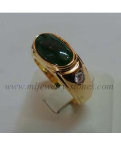 แหวนหยกพม่าประดับเพชรแท้ 0.10 cts.