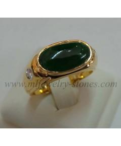 แหวนหยกพม่าประดับเพชรแท้เบลเยี่ยมน้ำหนักรวม 0.10 cts.