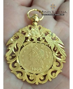 จี้กิมตุ้นทองคำโบราณปี คศ. 1953 อายุ 64 ปี