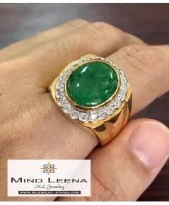 แหวนหยกพม่า ล้อมเพชรแท้ 0.66 cts. แหวนผู้ชาย
