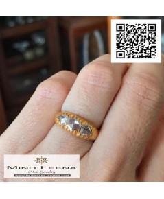 แหวนเพชรซีกโบราณ เรียงแถว 3 เม็ด(งานโบราณ)