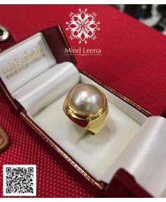 แหวนไข่มุกเมบิ ตัวเรือนทอง (งานสั่งทำ)