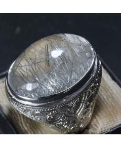 แหวนแก้วขนเหล็กเงิน ขนาดเม็ด 18*22มม ตัวเรือนเงินแท้ขนาดแหวน 63 โฉลกสำหรับวัน จันทร์และเสาร์