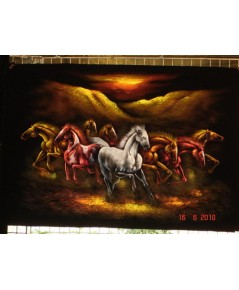 ม้า   ภาพสีสะท้อนแสง บนผ้ากำมะหยี่