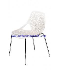 เก้าอี้ PP ลายกิ่งไม้ สีขาว/สีดำ