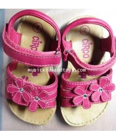 Circo : รองเท้ารัดส้นหนังเทียมสีชมพูติดดอกไม้
