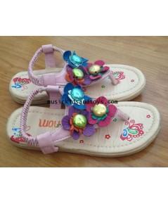 รองเท้ารัดส้นแบบคีบสีชมพูแต่งดอกไม้ด้านหน้า size 30