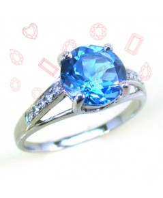 แหวนบลูโทพาส (Blue Topaz) พลอยสีฟ้า