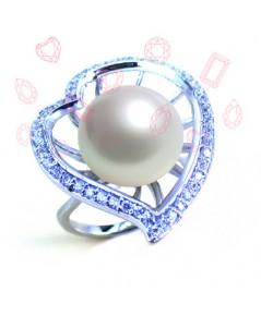 แหวนมุกสีขาว (หัวใจ)