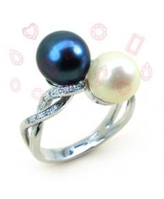 แหวนมุกสีขาว ดำ (สองสี)