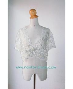 เสื้อคลุมไหล่ สำหรับชุดออกงาน สีขาวเงิน