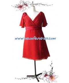 no.00106 ชุดราตรี ชุดราตรีสั้น Big Size ผ้าชีฟองสีแดงเลือดหมู