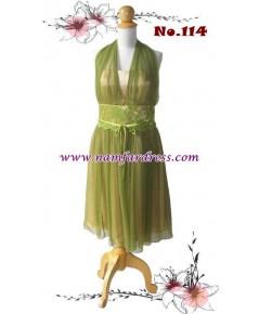 ชุดราตรีสั้นBig size ผ้าซิลค์ชีฟองสีเขียวทอง