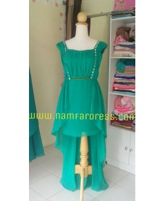 no.138 ชุดราตรีสั้นผ้าชีฟองสีเขียว