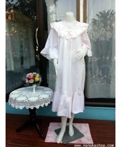 ชุดนอนผ้า cotton สีชมพู