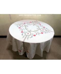 ผ้าปูโต๊ะกลมผ้างานปักผสมถัก