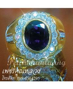แหวนไพลิน,แหวนไพลินล้อมเพชร,เพชรคัดสวย ขาวน้ำ 98 ความสะอาด VVS ราคาโรงงาน จากเราผู้ผลิตโดยตรง
