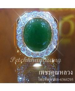 แหวนหยก,แหวนหยกพม่าล้อม,เพชรเพชรคัดสวย ขาวน้ำ 98 ความสะอาด VVS ราคาโรงงาน จากเราผู้ผลิตโดยตรง