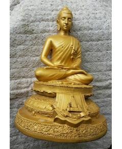 พระบูชาพระพุทธ วัดทุ่งเสรี เนื้อทองเหลือ ทาสีเหลืองทอง หน้าตักขนาด 5 นิ้ว สภาพสวย