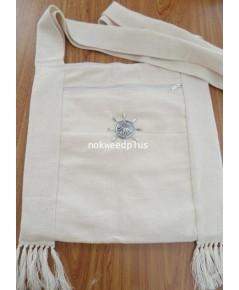 กระเป๋าย่ามผ้าฝ้ายสีขาว